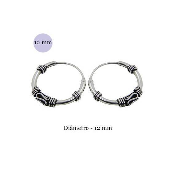 Men S Sterling Silver Balinese Hoop Earrings Diameter 13mm