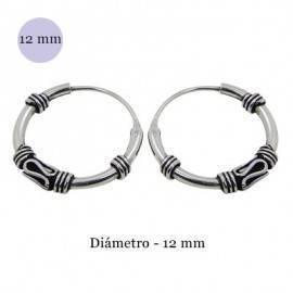 Men's sterling silver balinese hoop earrings, diameter 13mm. Price by unit