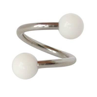 Piercing ombligo en forma de espiral de acero quirúrgico con bolas blancas. GES9-2