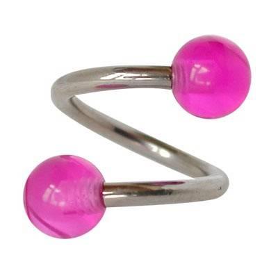 Piercing ombligo en forma de espiral de acero quirúrgico con bolas moradas. GES9-6