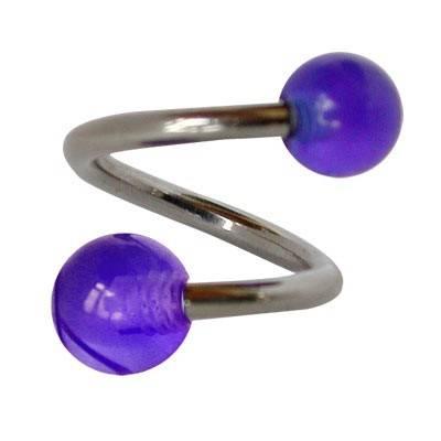 Piercing ombligo en forma de espiral de acero quirúrgico con bolas azules. GES9-7