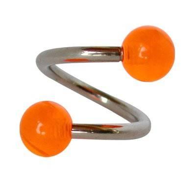 Piercing ombligo en forma de espiral de acero quirúrgico con bolas naranjas. GES9-8