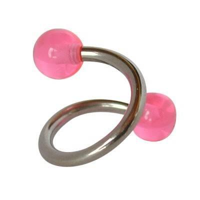 Piercing ombligo en forma de espiral de acero quirúrgico con bolas rosas. GES9-9