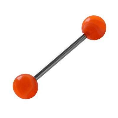 Piercing lengua, bolas de plástico, color naranja. GLE22-26
