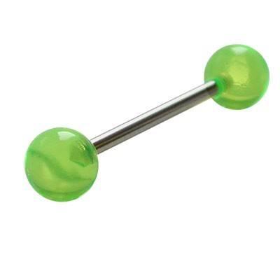 Piercing lengua de plastico, bolas de color verde claro. GLE22-22