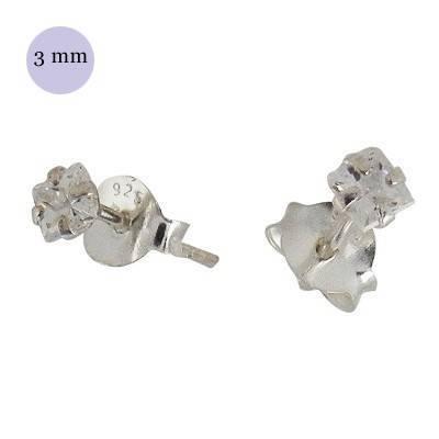 Un pendiente de plata con circonita 3mm. Precio por unidad. OR31-1
