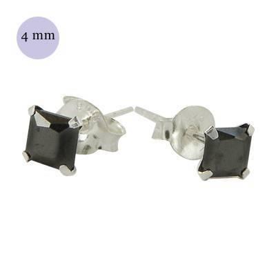 boucle d'oreille argent zirconium homme, carré 4mm. Vendu à l'unité. OR32-2