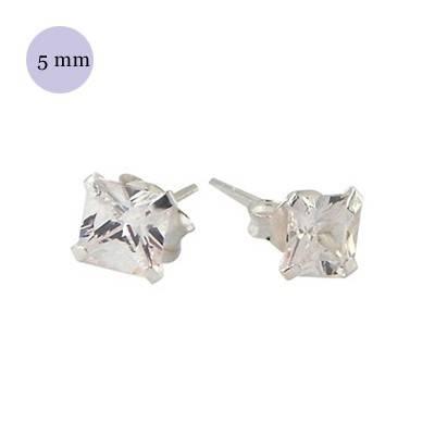 boucle d'oreille argent zirconium homme, carré 5mm. Vendu à l'unité. OR33-1