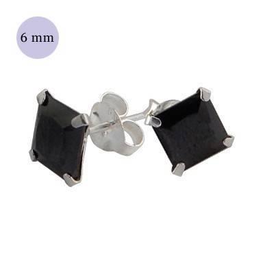 boucle d'oreille argent zirconium homme, carré 6mm. Vendu à l'unité. OR34-2