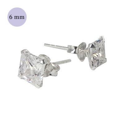 boucle d'oreille argent zirconium homme, carré 6mm. Vendu à l'unité. OR34-1
