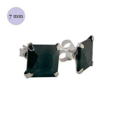 boucle d'oreille argent zirconium homme, carré 7mm. Vendu à l'unité. OR35-2
