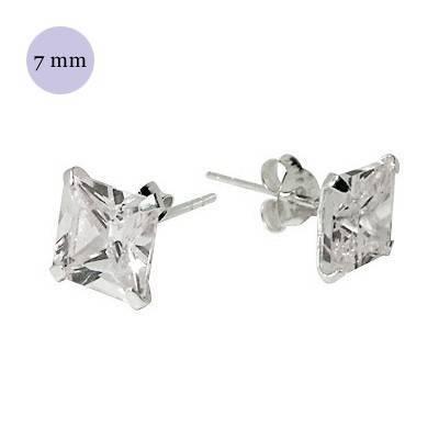 boucle d'oreille argent zirconium homme, carré 7mm. Vendu à l'unité. OR35-1