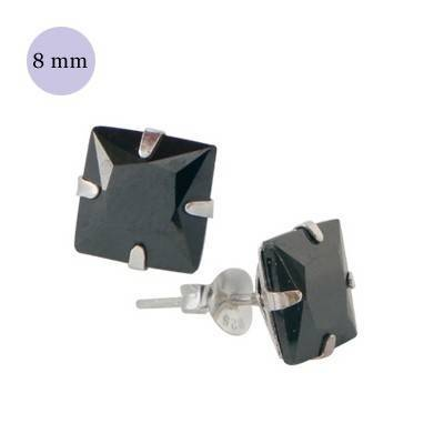 .boucle d'oreille argent zirconium homme, carré 8mm. Vendu à l'unité. OR36-2