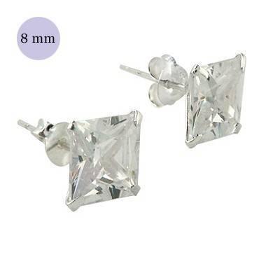 .boucle d'oreille argent zirconium homme, carré 8mm. Vendu à l'unité. OR36-1