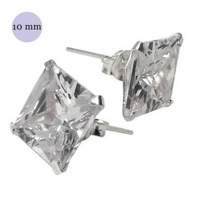 boucle d'oreille argent zirconium homme, carré 10mm. Vendu à l'unité. OR38-1