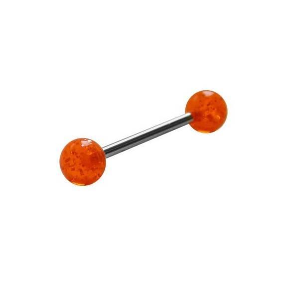 Piercing langue acier chirurgical boules acrylique. GLE22-11