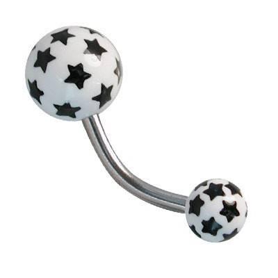 Piercing ombligo, color blanco y estrellas negras, bolas de plástico. GO60-8