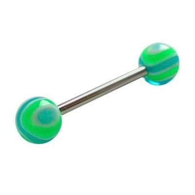 Piercing lengua, bolas de plástico, color verde y azul. GLE22-7