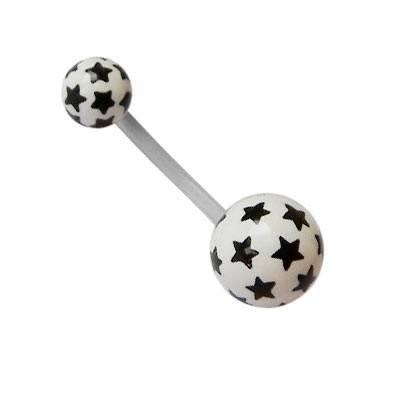 Piercing ombligo blanco con estrellas negras de plástico con palo flexible. GO60-34