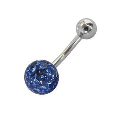 Piercing acero quirúrgico ombligo con muchas piedras azul oscuras cubiertas con esmalte.GO6-17