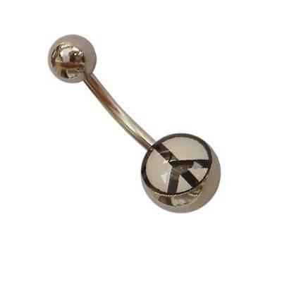 Piercing acero quirurgico ombligo, símbolo de la paz. GO25-3