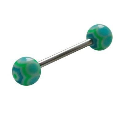 Piercing lengua, bolas de plástico, color verde y azul claro. GLE22-5