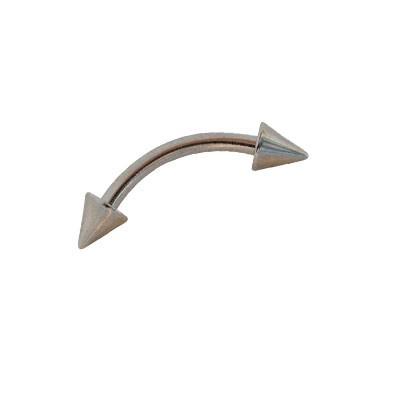 Piercing pezón, palo curvado con conos, 1,2mm de grosor, 10mm de largo. Ref. GCE37-3