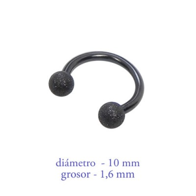 Piercing pezón aro abierto con bolas mate, grosor 1,6mm, diámetro 10mm, negro