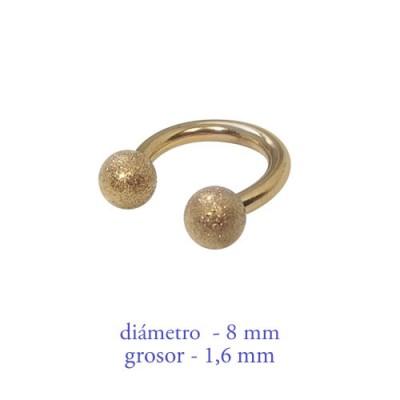 Piercing pezón aro abierto con bolas mate, grosor 1,6mm, diámetro 8mm, dorado.