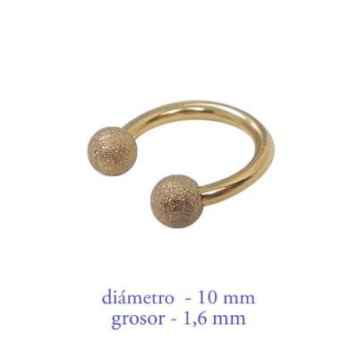 Piercing pezón aro abierto con bolas mate, grosor 1,6mm, diámetro 10mm, dorado.