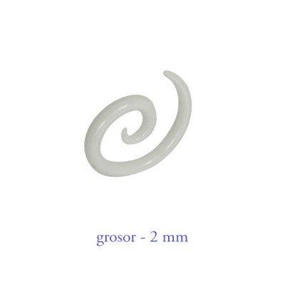 Dilatador oreja tipo espiral, 2mm, acrílico blanco