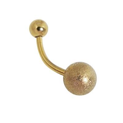 Piercing ombligo color dorado, bola de 8mm mate diamantado, acero quirúrgico anodizado dorado