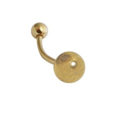 Piercing ombligo de acero quirúrgico anodizado dorado brillo