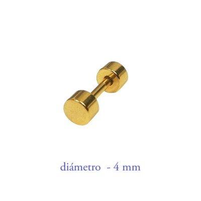 Dilatación falsa dorada de acero, 4mm de diámetro.