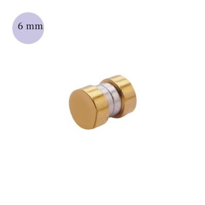 Una dilatación falsa de imán, 6mm, de acero quirúrgico color dorado.