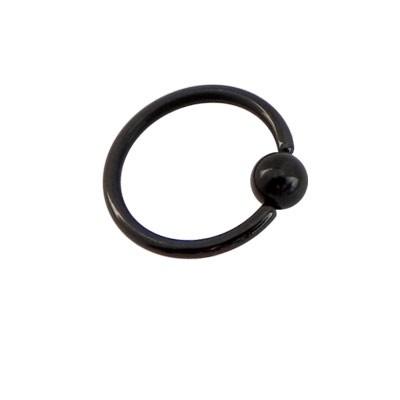 Piercing aro cerrado negro con bola de presion, 10mm de diámetro, 1,2mm de grosor