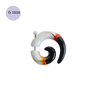 Una dilatación falsa tipo espiral blanco y negro, 6mm de díametro, de plástico