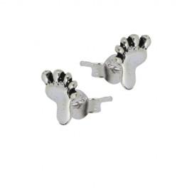 Pendiente de plata con tuerca, en forma de pies 8mm. Precio por un pendiente