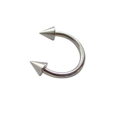 Piercing oreja, tragus, cartílago, aro abierto con dos conos, 8mm de diámetro