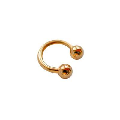 Piercing oreja, tragus, cartílago, aro abierto dorado con dos bolas, 6mm de diámetro