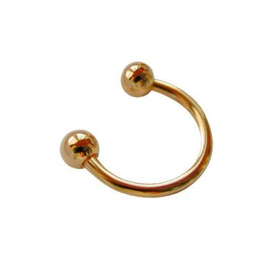 Piercing oreja, tragus, cartílago, aro abierto dorado con dos bolas, 8mm de diámetro