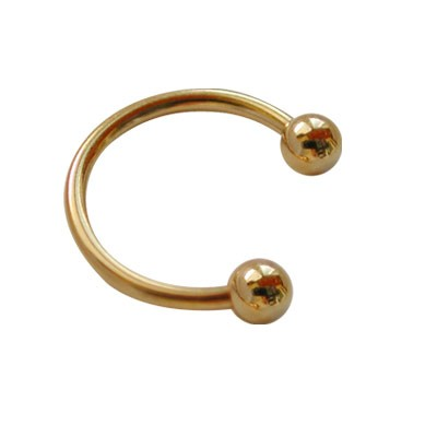 Piercing oreja, tragus, cartílago, aro abierto dorado con dos bolas, 10mm de diámetro
