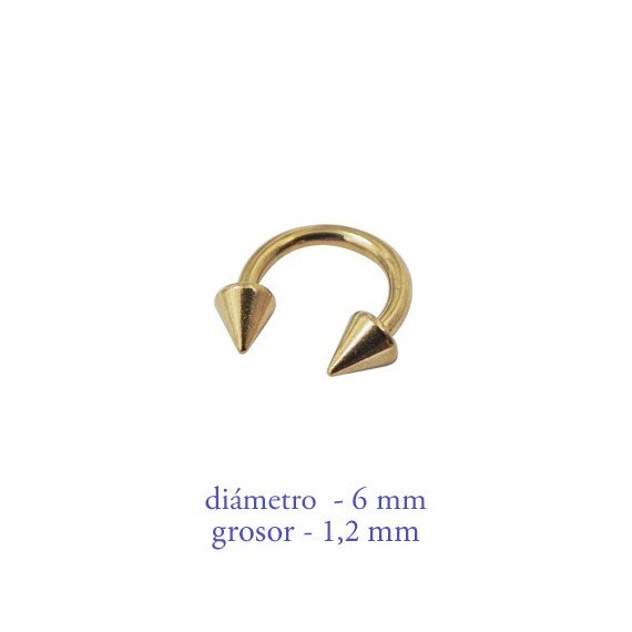 Piercing oreja, tragus, cartílago, aro abierto dorado con dos conos, 6mm de diámetro