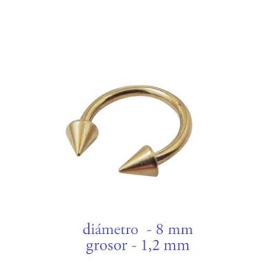 Piercing oreja, tragus, cartílago, aro abierto dorado con dos conos, 8mm de diámetro