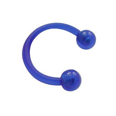 Piercing oreja, tragus, cartílago, aro abierto bioplast flexible azul con dos bolas, 8mm de diámetro