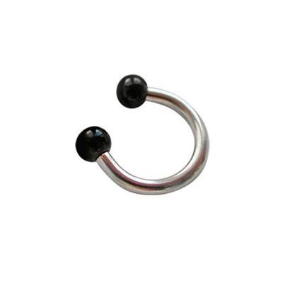 Piercing oreja, tragus, cartílago, aro abierto con dos bolas negras, 6mm de diámetro