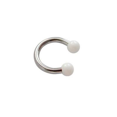 Piercing oreja, tragus, cartílago, aro abierto con dos bolas blancas, 6mm de diámetro