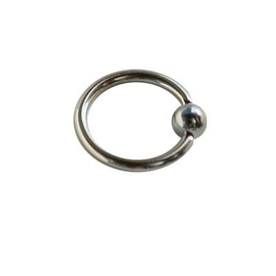 Piercing oreja, tragus, cartílago, aro cerrado con bola de presion, 10mm de diámetro