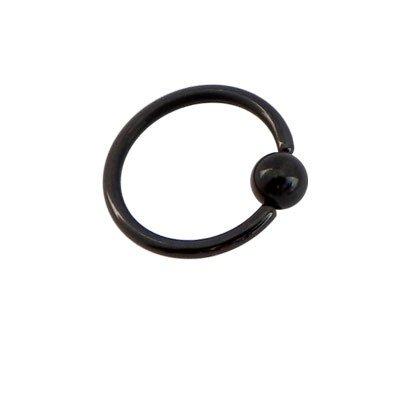 Piercing oreja, tragus, cartílago, aro cerrado negro con bola de presion, 10mm de diámetro