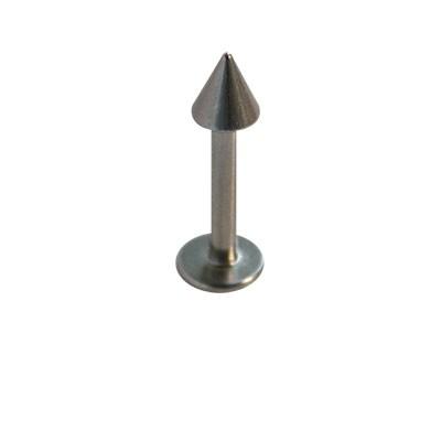 Piercing oreja, tragus, cartílago con palo recto con un cono y un disco de tope, 8mm de largo